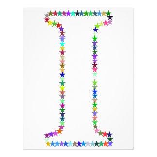 Rainbow Star Letter I Letterhead