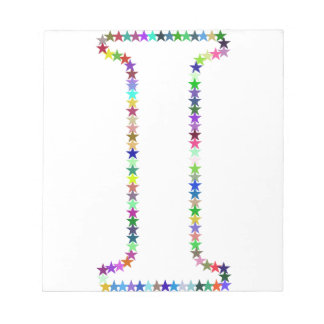 Rainbow Star Letter I Notepad