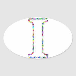 Rainbow Star Letter I Oval Sticker