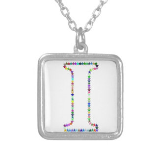 Rainbow Star Letter I Silver Plated Necklace