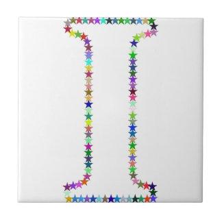 Rainbow Star Letter I Tile