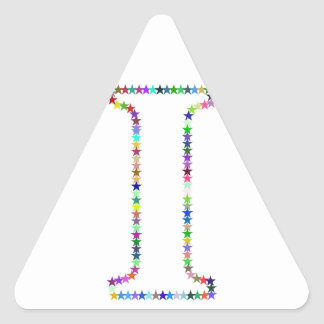 Rainbow Star Letter I Triangle Sticker