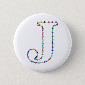 Rainbow Star Letter J 2 Inch Round Button