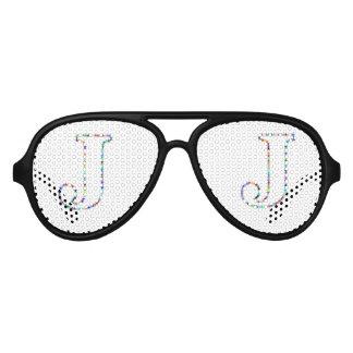 Rainbow Star Letter J Aviator Sunglasses