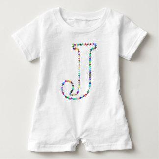 Rainbow Star Letter J Baby Romper
