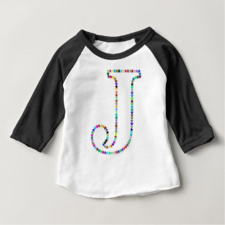 Rainbow Star Letter J Baby T-Shirt