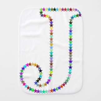 Rainbow Star Letter J Burp Cloth