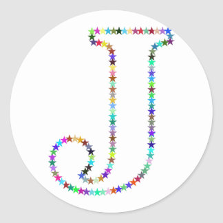 Rainbow Star Letter J Classic Round Sticker