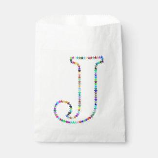 Rainbow Star Letter J Favour Bag