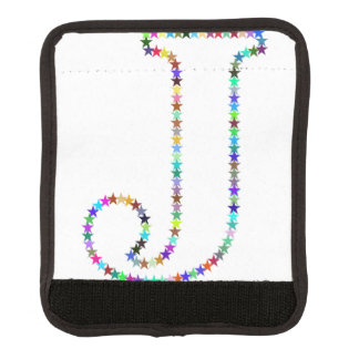 Rainbow Star Letter J Luggage Handle Wrap