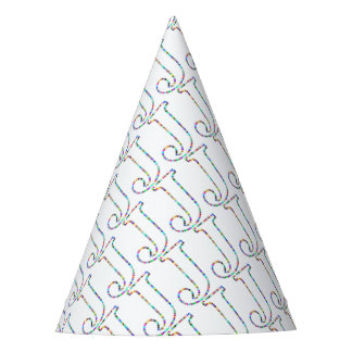 Rainbow Star Letter J Party Hat