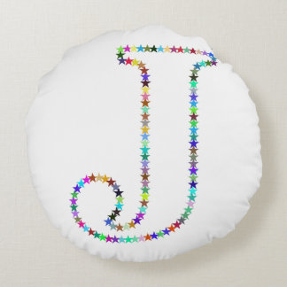 Rainbow Star Letter J Round Pillow