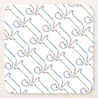 Rainbow Star Letter J Square Paper Coaster