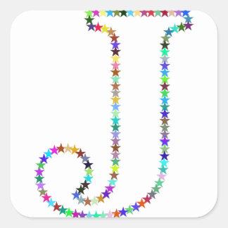 Rainbow Star Letter J Square Sticker