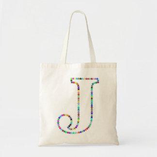 Rainbow Star Letter J Tote Bag