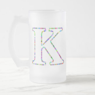 Rainbow Star Letter K Frosted Glass Beer Mug