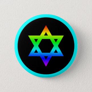 Rainbow Star of David 2 Inch Round Button