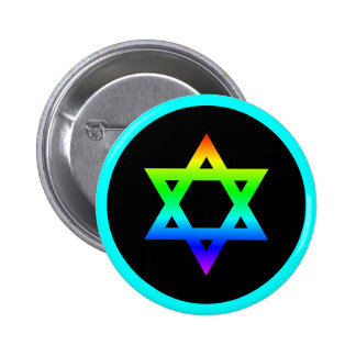 Rainbow Star of David 2 Inch Round Button