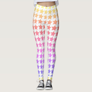 Rainbow star patterned leggings
