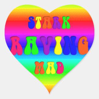"Rainbow ""Stark Raving Mad"" Heart Sticker"