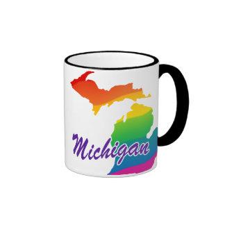 Rainbow State Of Michigan Mugs