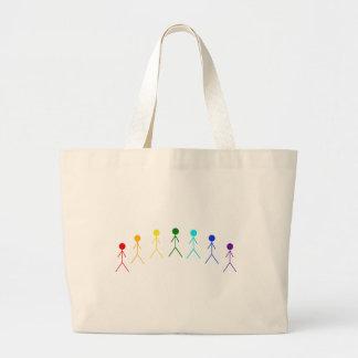 Rainbow Stick Figures - 2 Large Tote Bag
