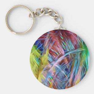 Rainbow Strands of Hair Abstract Art Keychain