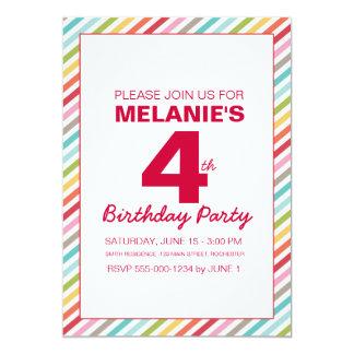 Rainbow Stripe Birthday Invitation