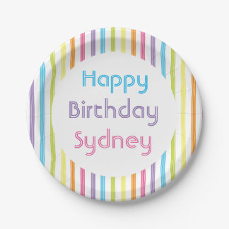 Rainbow stripe Birthday plate with name 7 Inch Paper Plate