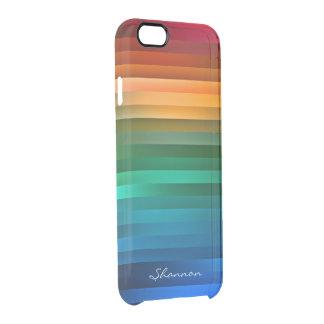 Rainbow Stripe Custom Text Clear iPhone 6 case