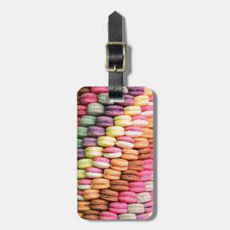 Rainbow Stripe of Stacked French Macaron Cookies Luggage Tag
