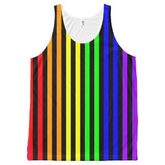 Rainbow Striped All-Over-Print Tank Top