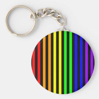 Rainbow Striped Basic Round Button Keychain