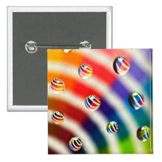 Rainbow Striped Bubbles 2 Inch Square Button