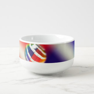 Rainbow Striped Bubbles Soup Bowl With Handle