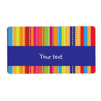 Rainbow striped design shipping label