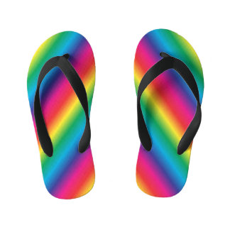 Rainbow Striped Diagonal Kid's Flip Flops
