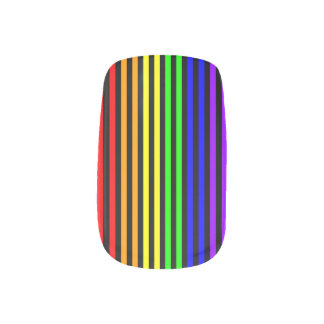 Rainbow Striped Nails Stickers
