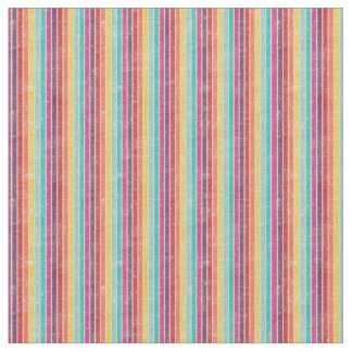 Rainbow Striped Retro Print Combed Cotton Fabric