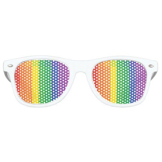 Rainbow Striped Retro Sunglasses