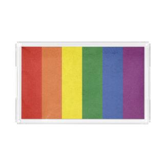 Rainbow stripes acrylic tray