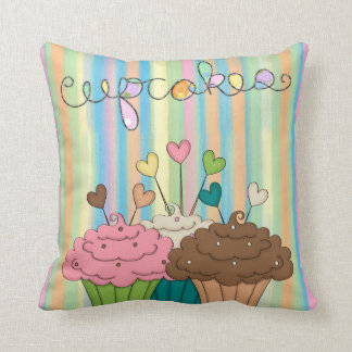 Rainbow Stripes and Cupcakes Throw Pillow