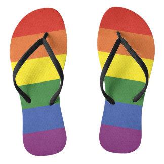 Rainbow stripes flip flops