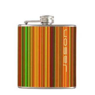 Rainbow stripes hip flask