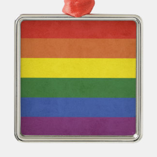 Rainbow stripes metal ornament