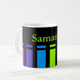 Rainbow Stripes Monogram Coffee Mug