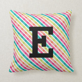 Rainbow Stripes Monogram Throw Pillow