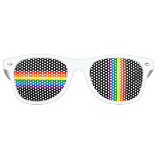 Rainbow Stripes on Black Gay Pride LGBT Support Retro Sunglasses