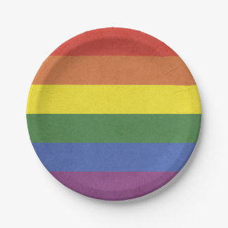 Rainbow stripes paper plate