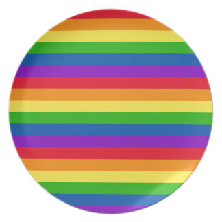 Rainbow Stripes Pattern Colorful Gay Pride Plate